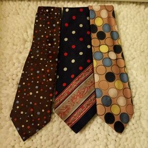3 VTG 70's Oleg Cassini Polka Dot Ties